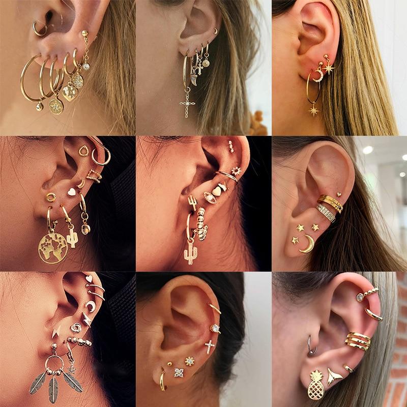Fashion Tassel Geometric Small Earrings Moon Stars Heart Cross Crystal Stud Earrings For Women Ear Cuff Jewelry Punk Earring Set