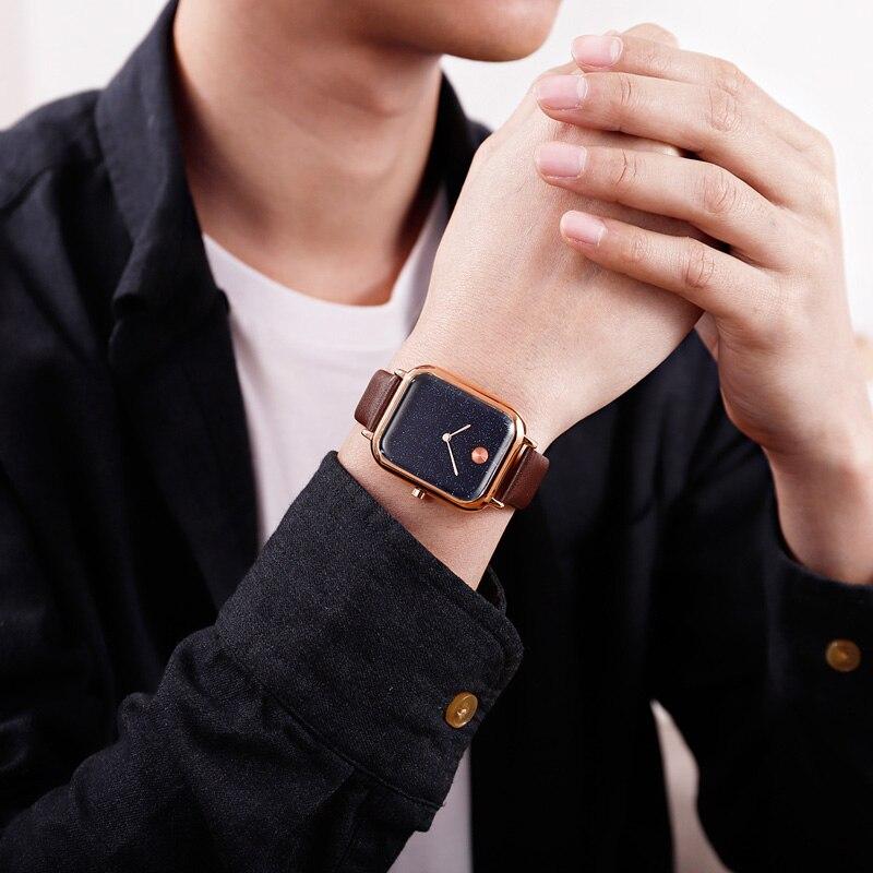 Couple Quartz Watch Innovative Starry Sky Rectangular Dial Men Women Wrist Watch A66