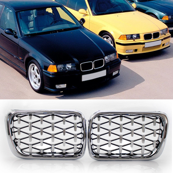 1 Pair Double Slat Sport Style Gloss Black Chrome Diamond Kidney Grill Grilles for BMW E36 318is 325i M3 Coupe 96-99 image