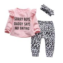 Newborn Baby Girl Clothes Set Cotton Long Sleeve Funny Letter Tops+Casual Leopard Pants+Headband 3Pcs Infant Toddler Outfits cheap Brooyplan 0-6m 7-12m 13-24m CN(Origin) Female O-Neck Sets Pullover Full Regular Fits true to size take your normal size