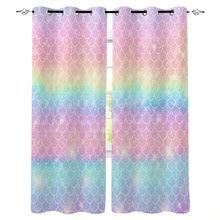 Escalas sereia oceano rainbow quarto cortinas grande janela do banheiro cozinha crianças tratamento da janela cortinas e cortina