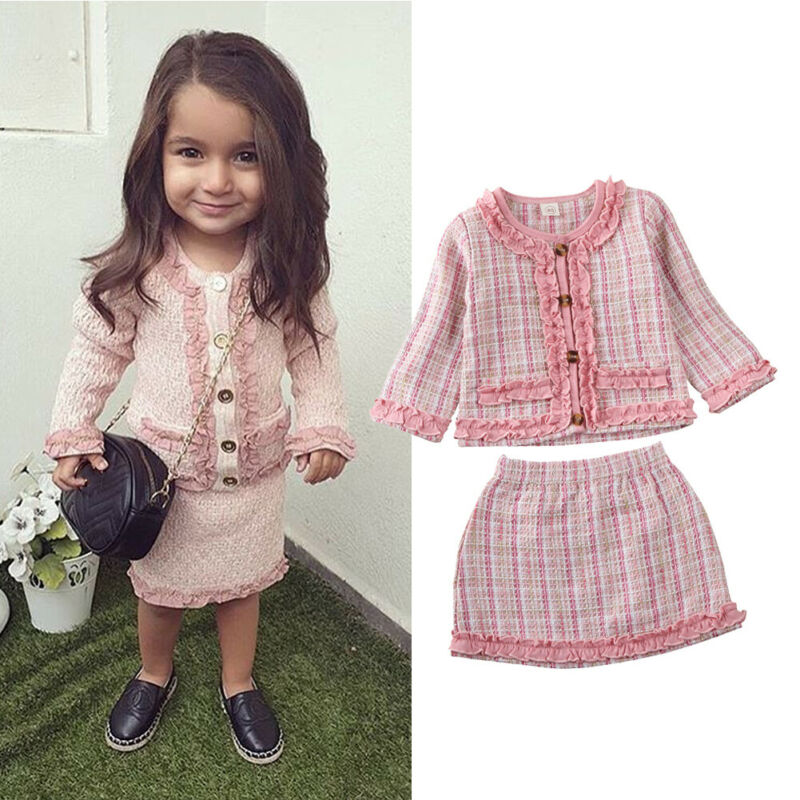 USA Toddler Baby Girls Winter Clothes Button Coat Tops+Tutu Dress Formal Outfits