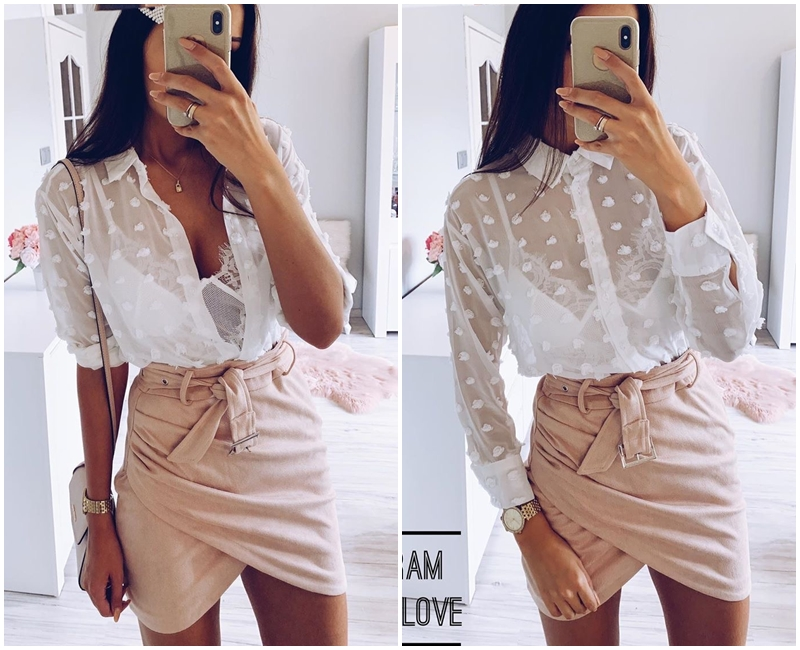 Affogatoo High waist suede leather skirts 18 Autumn winter belt ruched bodycon skirt Women asymmetric short skirts female 7