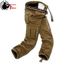 الرجال السراويل البضائع الشتاء زائد الصوف سميكة بناطيل تدفئة الذكور طبقة مزدوجة العديد من جيب عادية العسكرية فضفاض السراويل التكتيكية الذكور