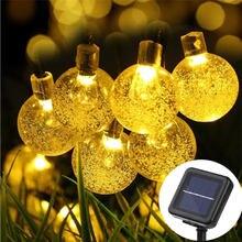 Новинка 20 светодиодов Солнечная лампа хрустальный шар 5 м пузырьковый