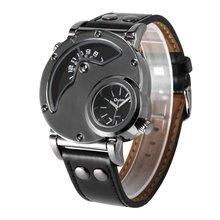 Men Watch Brand Oulm Dual Time Zone Leather Band Watch HP9591B Japan Quartz Movement Outdoor Travel Male Wristwatch стоимость