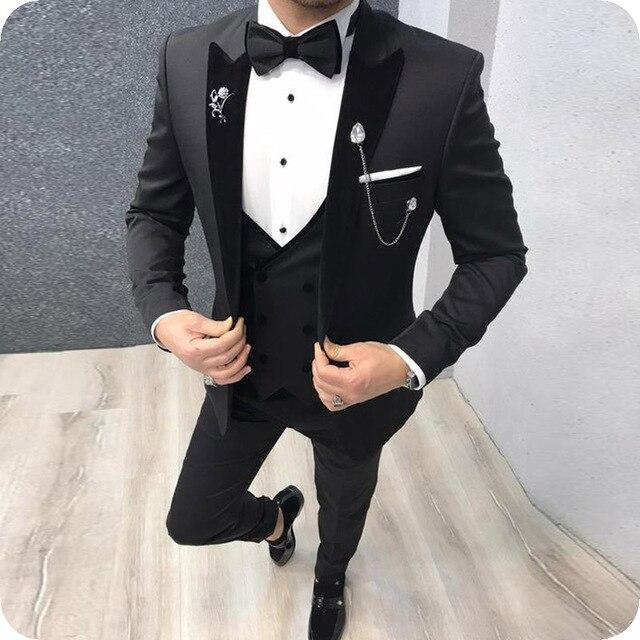Black Men Suits Men For Wedding Suit Man Peaked Lapel Bridegroom Custom Made Slim Fit Formal Groom Tuxedo Blazer Best Man Dress