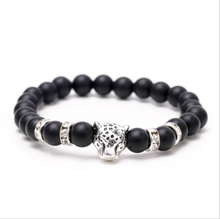Popular Christmas Gifts Matte Black Charm Natural Stone Beads Alloy Leopard Head Bracelet Mens Accessories