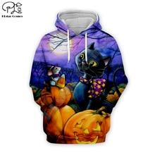 Halloween Night Pumpkin Black cat print Men women 3d Hoodies Christmas skull Sweatshirt galaxy tshirt zipper unisex Tracksuit цена и фото