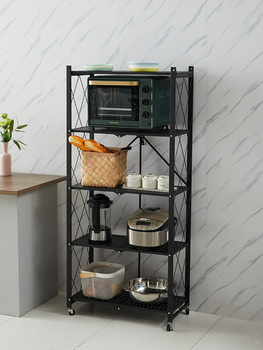 Movable folding shelf kitchen oven microwave storage floor multi-layer cabinet