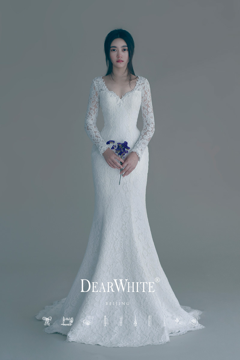 High Quality Vestido De Noiva Long Sleeve Mermaid Wedding Dress Lace Sexy Trumpet Wedding Gown Customise Robe De Mariage