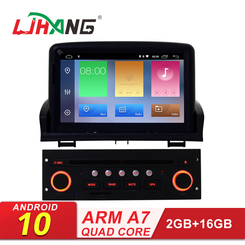 LJHANG Android 10 <font><b>Car</b></font> Multimedia DVD Player For <font><b>Peugeot</b></font> <font><b>307</b></font> 2008 2009 2010 2011 GPS Navigation 1 Din <font><b>Car</b></font> <font><b>Radio</b></font> Stereo Automotive image