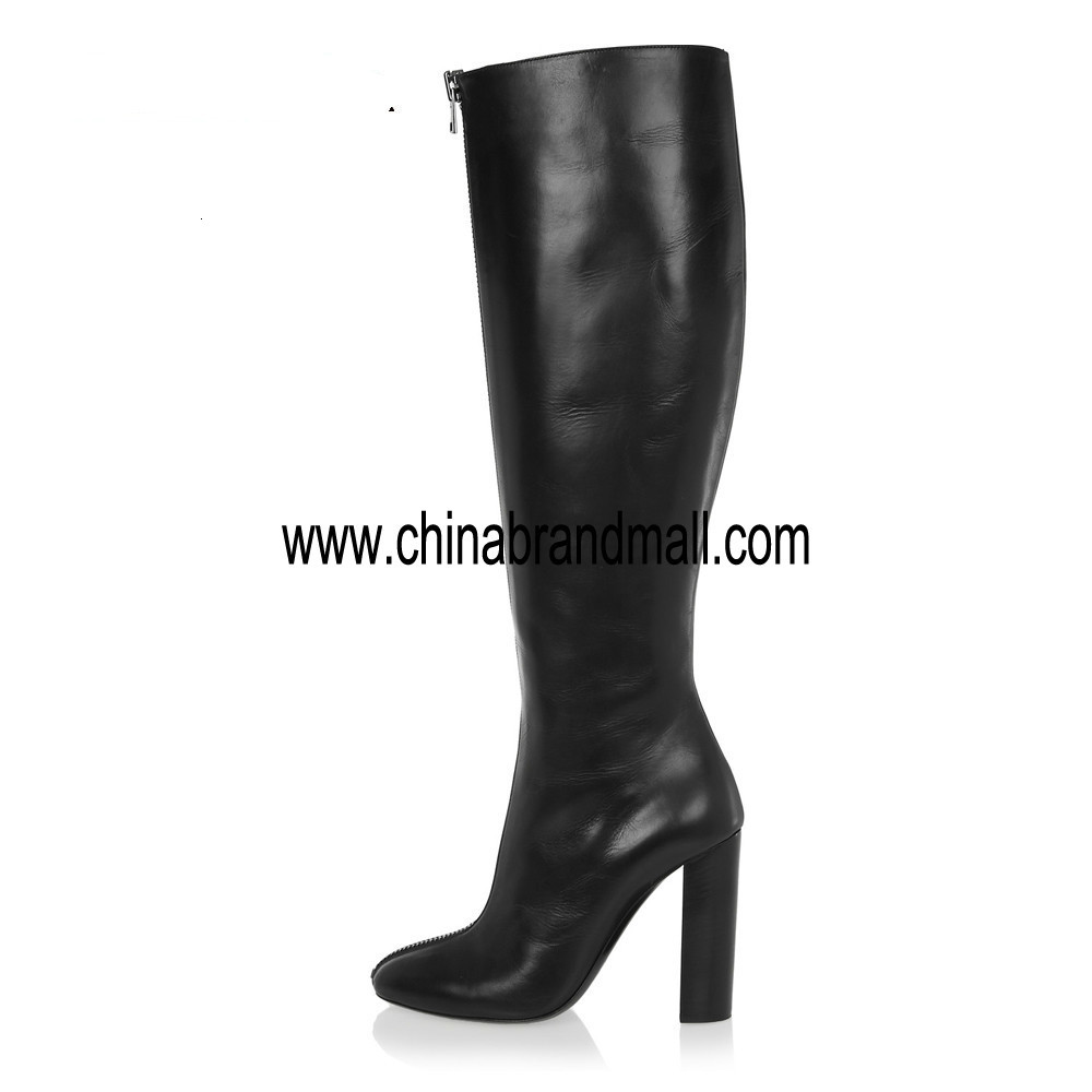 Over the Knee High Heel Boots Round Toe Chunky Thick Extreme High Heels Front Zipper Sexy Women Boots Winter Shoes Plus Size 45