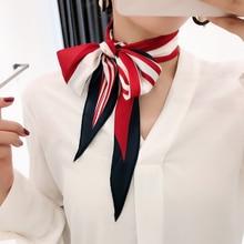 2020Designer New striped classy and chic diamond small long scarfs women Joker Silk feel scarf Korean neck bag accessories