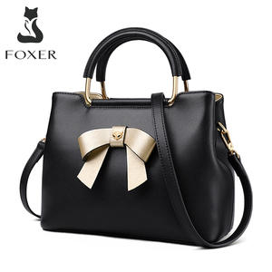 Image 1 - FOXER Brand Women's Handbags Elegant Design Bow Totes Female Winter Crossbody Shoulder Bags Lady Style Handbag Drop Shipping