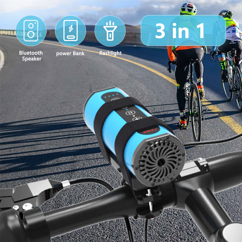 Power Bank Bluetooth Speaker Flashlight Torch Bike Lamp Cycling Headlight