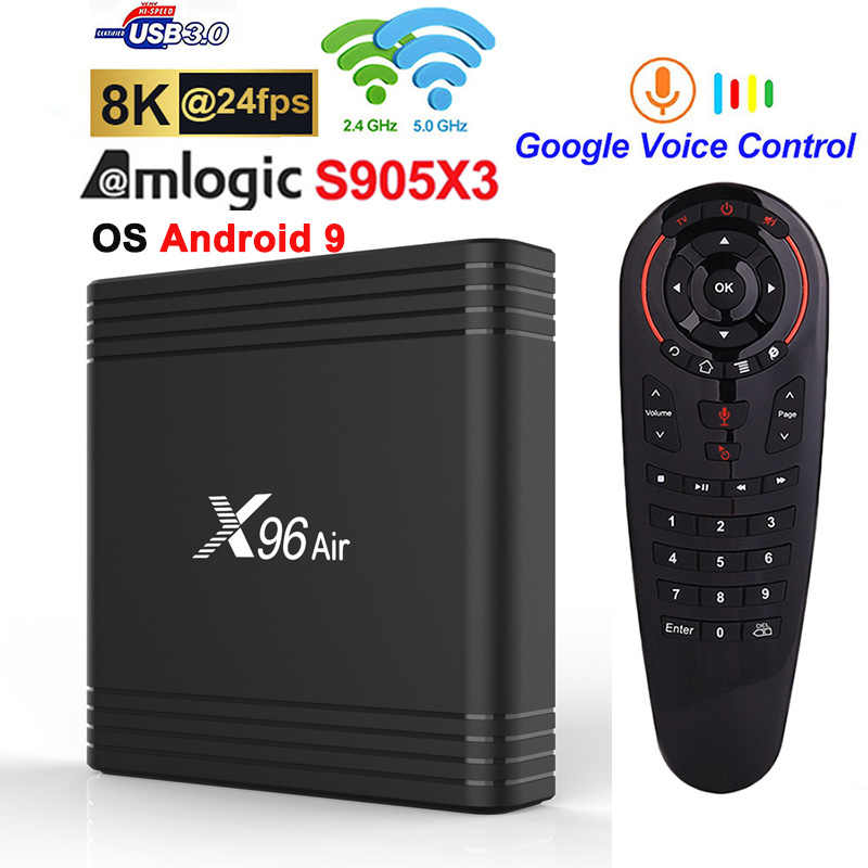 X96 Air Smart TV Box Amlogic S905X3 4GB 32GB 64GB Android 9.0 TV BOX 2.4G & 5G WIFI Netflix 1080P 8K 4K décodeur support Plex