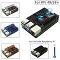 Двойные вентиляторы Raspberry Pi 4 Модель B/3B +/3B 4 цвета Алюминиевый металлический корпус с супер двумя охлаждающими вентиляторами + радиаторы для ...