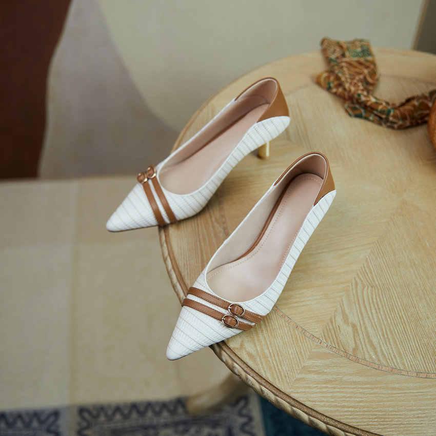 QUTAA/Коллекция 2021 года; Женские туфли на высоком каблуке с острым носком и пряжкой; Разноцветные женские туфли-лодочки из натуральной кожи; Сезон весна-осень; Размеры 34-40