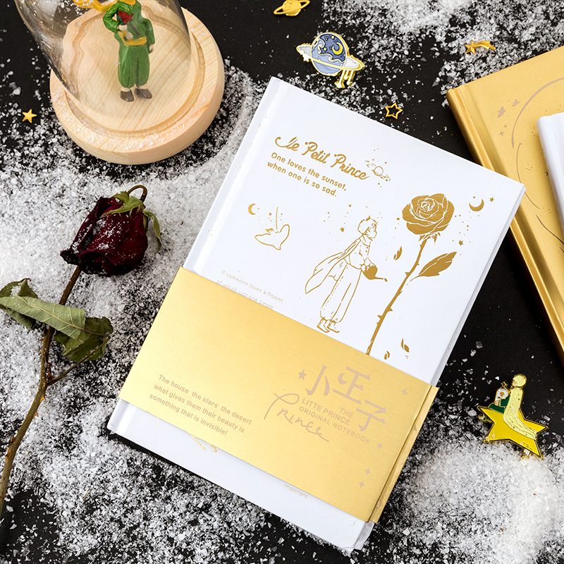 Little Prince Blank Sketchbook Diary Drawing Painting Gold Silver Rose Fox Planet Notebook Paper Sketch Book School Supplies