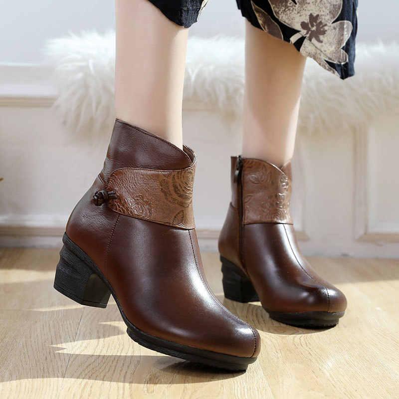 Xiuteng 2019 moda rahat Geauine deri çizmeler peluş orta topuk yarım çizmeler yuvarlak ayak fermuar kış bayan ayakkabıları büyük boy 41