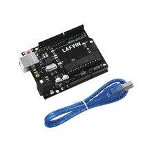 LAFVIN para UNO R3 Board ATmega328P ATMEGA16U2 Placa de desarrollo con Cable USB para Arduino