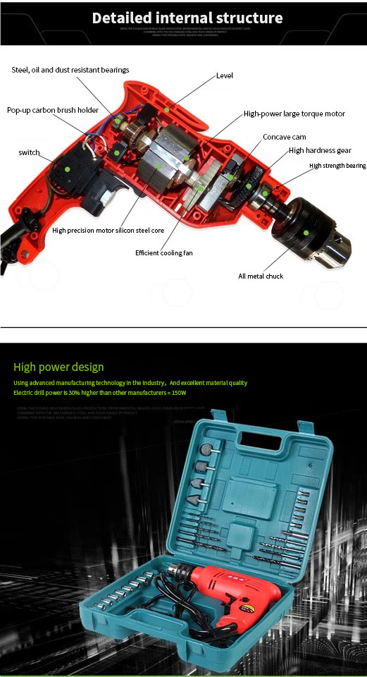 H96e4cd6d6e764d5cbf57dc1eb335ac39t - Anjieshun 30 Pieces / Set Impact Drill Multi-function Electric Drill Dual-use Drill Set Home DIY AC 13 Mm 950W 3300rpm