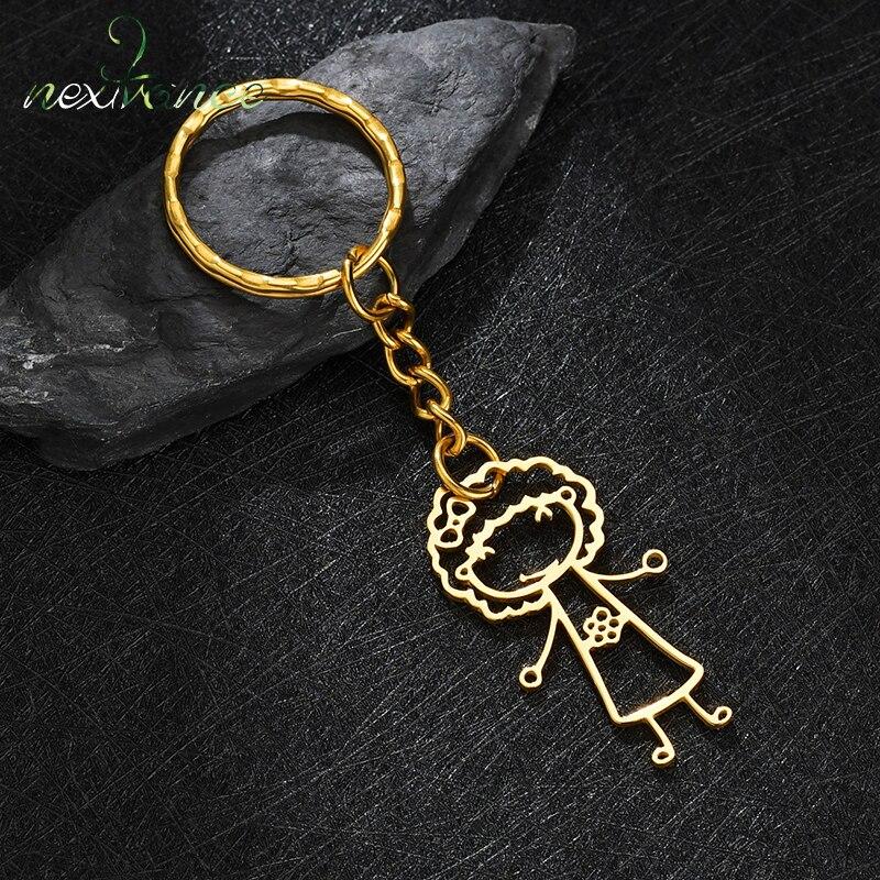 Nextvance 2021 Customized Stainless Steel Personlized Hand Painted Keychain Creativity Women Jewelry Birthday Gift Accoriess