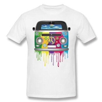 T Shirt Old Style Hippie Van Dripping Rainbow Paint Graphic Tee Shirt Mens 100 Percent Cotton Short Sleeve Tshirt