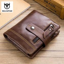 BULLCAPTAIN Leather Men Wallet Fashion Coin Pocket Brand Multifunction Men Purse High Quality Male Card ID Holder With Gift Box