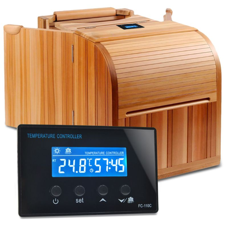 Digital Sauna Foot Bath Stream Room Thermostat 220V 10A Relay Output LCD Temperature Controller Timer 0-100 With NTC Sensor