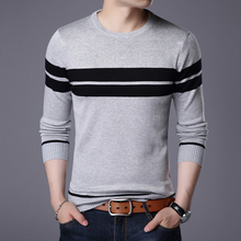 Sweater autumn men's high quality round neck sweater knit bottoming shirt men's striped cotton comfortable slim casual sweater high neck striped knit bodysuit