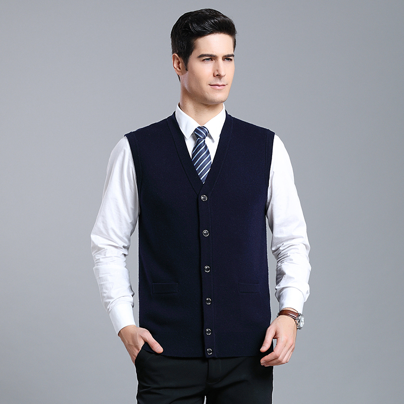 MACROSEA Men's V-neck 100% Wool Cardigan Male Knitted Sleeveless Solid Color Vest Sweater Formal Casual Vest Cardigan 1822