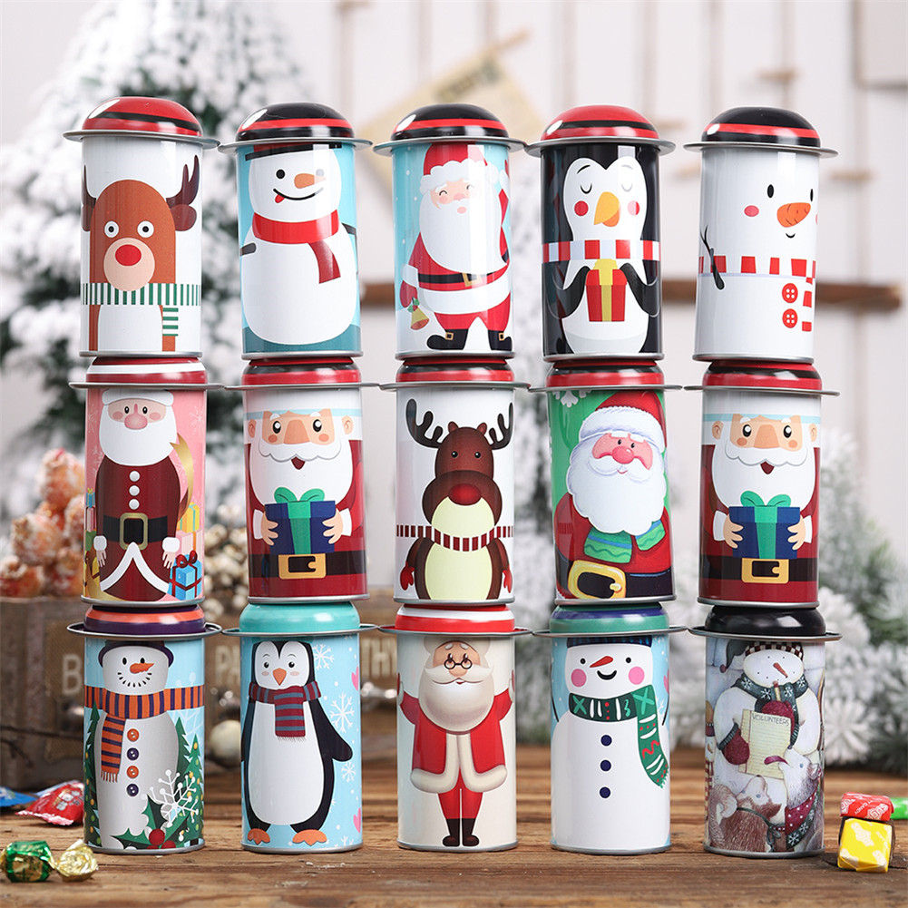 1pc Christmas Candy Box Santa Claus Storage Iron Box Candy Cans Children Gift Bucket Christmas Decoration Candy Box Random Color