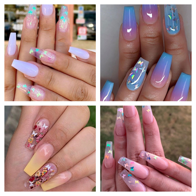 1 Box Holographic Butterfly Shape Nail Glitter Flakes Sparkly 3D  Colorful Sequins Spangles Polish Manicure Nails Art Decoration 1