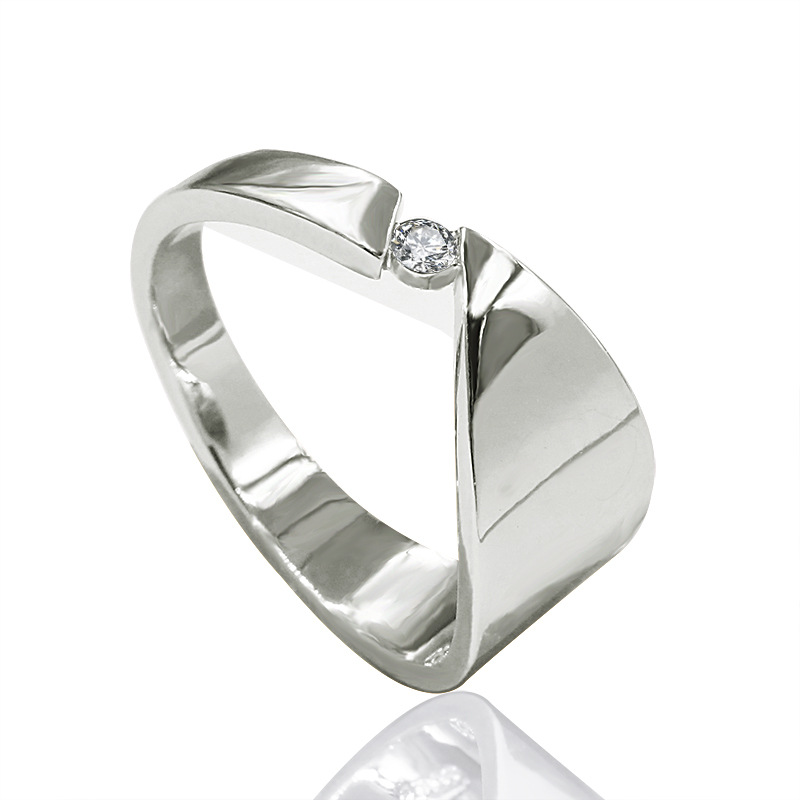 Silver-Ring Solitaire Fashion Jewelry Wedding-Engagement Cocktail Creative Cubic-Zirconia