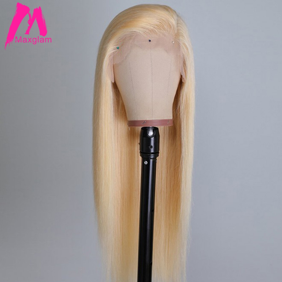 Maxglam Blonde Lace Front Wig 613 Human Hair Wigs For Black Women Pre Plucked With Baby Hair Straight Brazilian Remy Hair 13x4