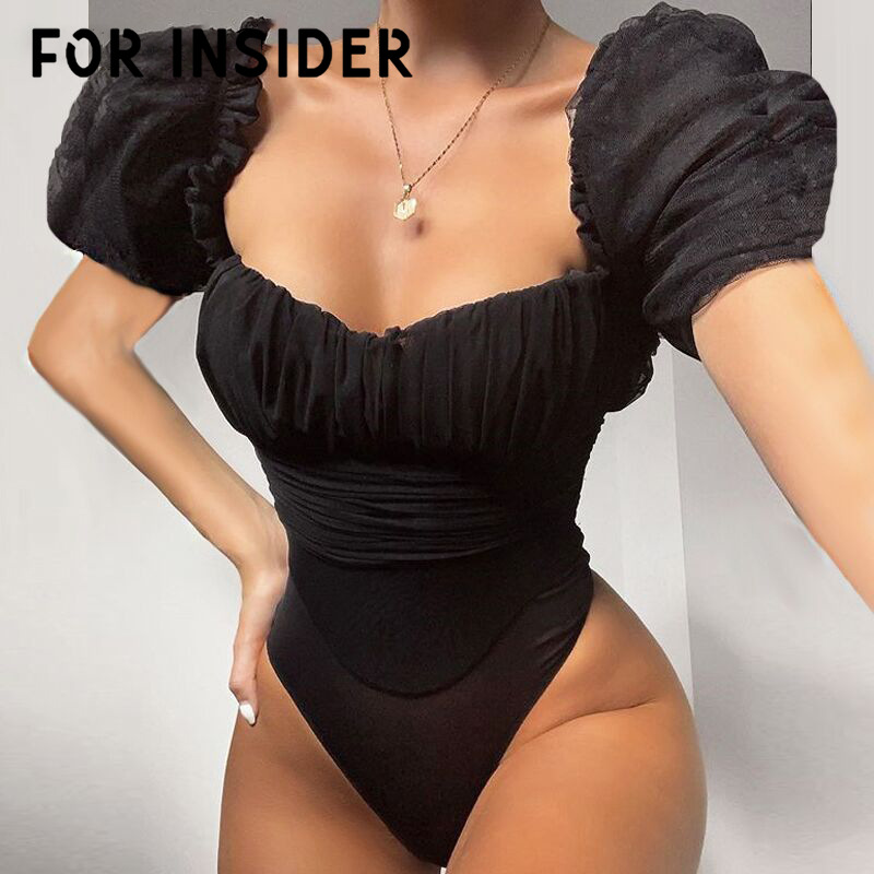For Insider Puff sleeve mesh polka dot black bodysuit top Women vintage ruched sexy jumpsuit romper Female elegant slim