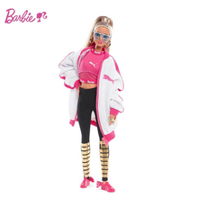 Original Barbie Doll PUMA Joint Model Sports Fashion Jacket Limited Collection Baby Girl Toy Style for Kids Birthday Gift DWF59