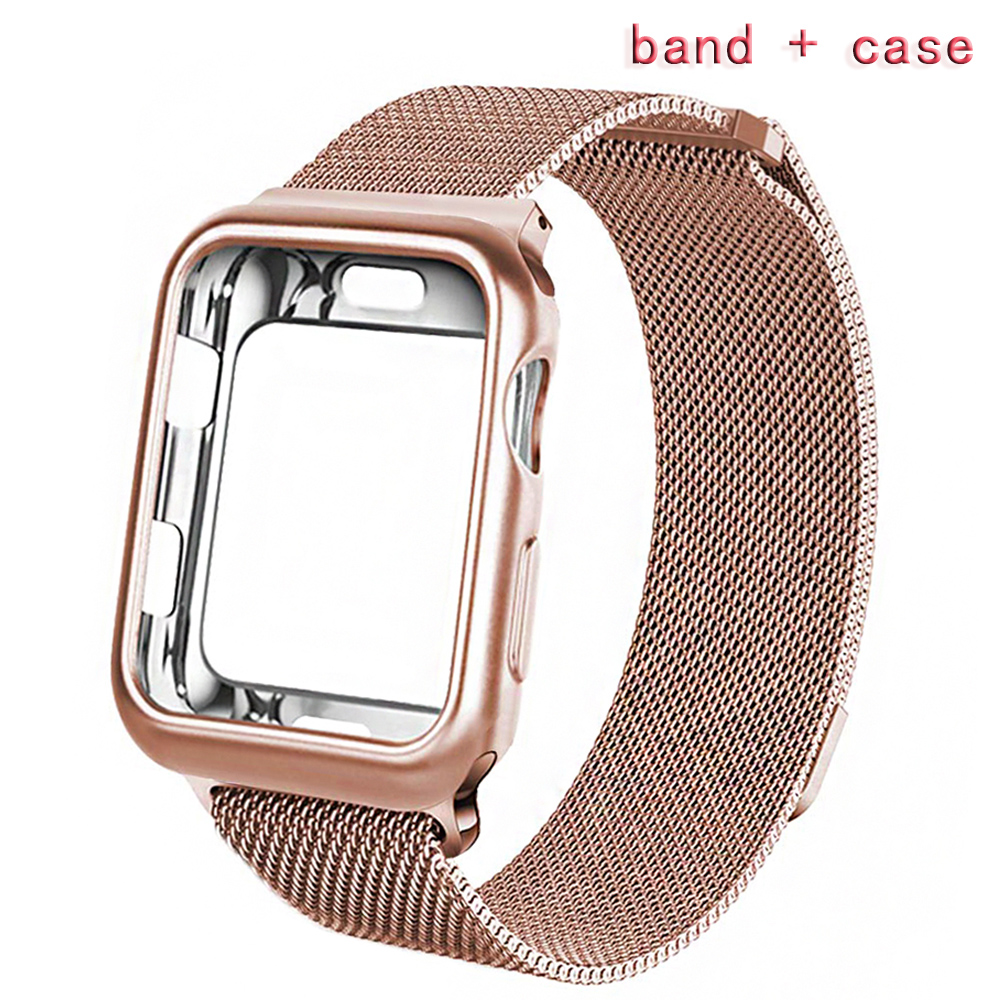 Milanese Strap+ Case Apply to 38mm 42mm Apple iwatch series 3 2 1 band 40mm 44mm for apple watch 4 pulseira Bracelet accessories