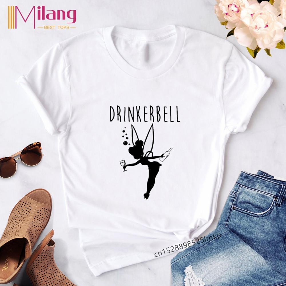 Harajuku Kawaii Fly Princess T Shirt Femme Cute Tinker Bell Print Graphic Tees Women Tops Aesthetic Clothes Tumblr Streetwear