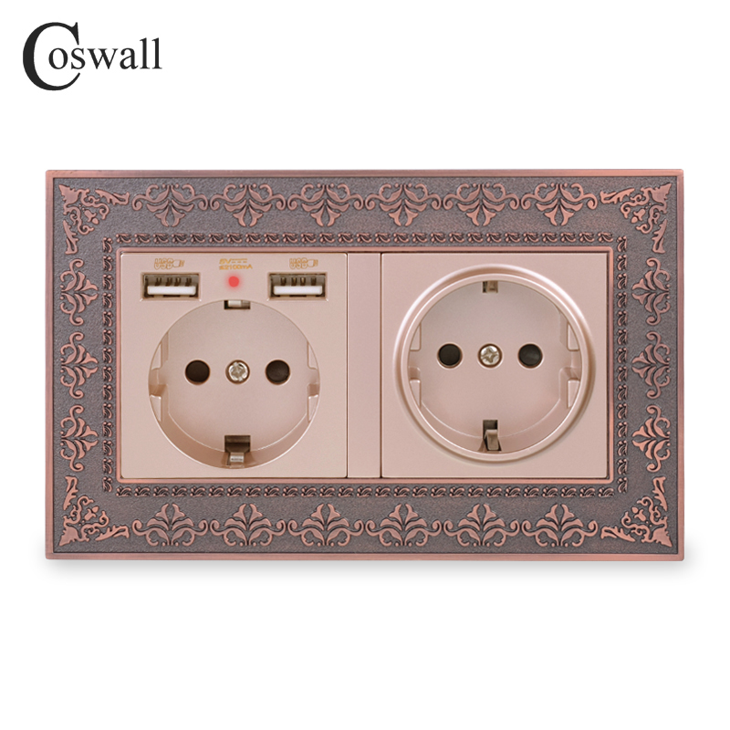 COSWALL Double Russia Spain EU Standard Wall Socket With 2 USB Charge Port Hidden Soft LED Indicator Vintage Zinc Alloy Frame