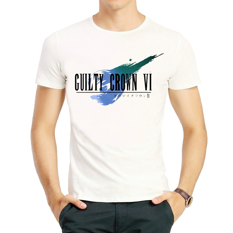 <font><b>Guilty</b></font> <font><b>Crown</b></font> Logo T-Shirt White Color Short Sleeve <font><b>Guilty</b></font> <font><b>Crown</b></font> Cosplay T Shirts Tops Tees <font><b>tshirt</b></font> Casual Unisex GC inori T-shirt image