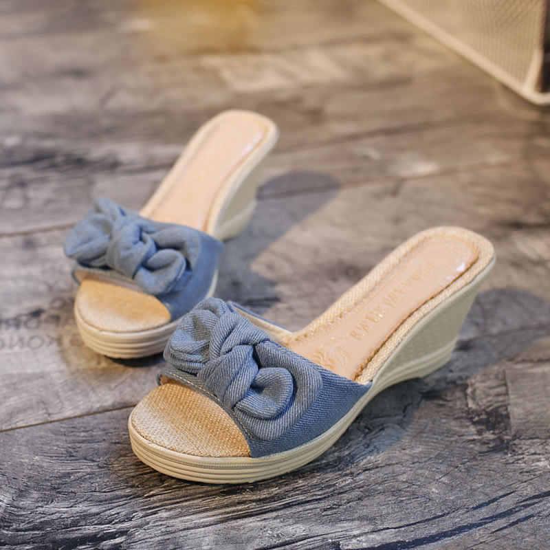 LTARTA kadınlar seksi kama topuklu 2019 yaz sandalet yamaç kelime sandalet Muffin alt ayakkabı vahşi yay damla satış FZZ-9905