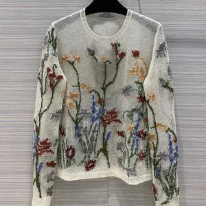 Designer Sweater Pullovers Floral-Printed Women 100%Cashmere O-Neck High-Quality