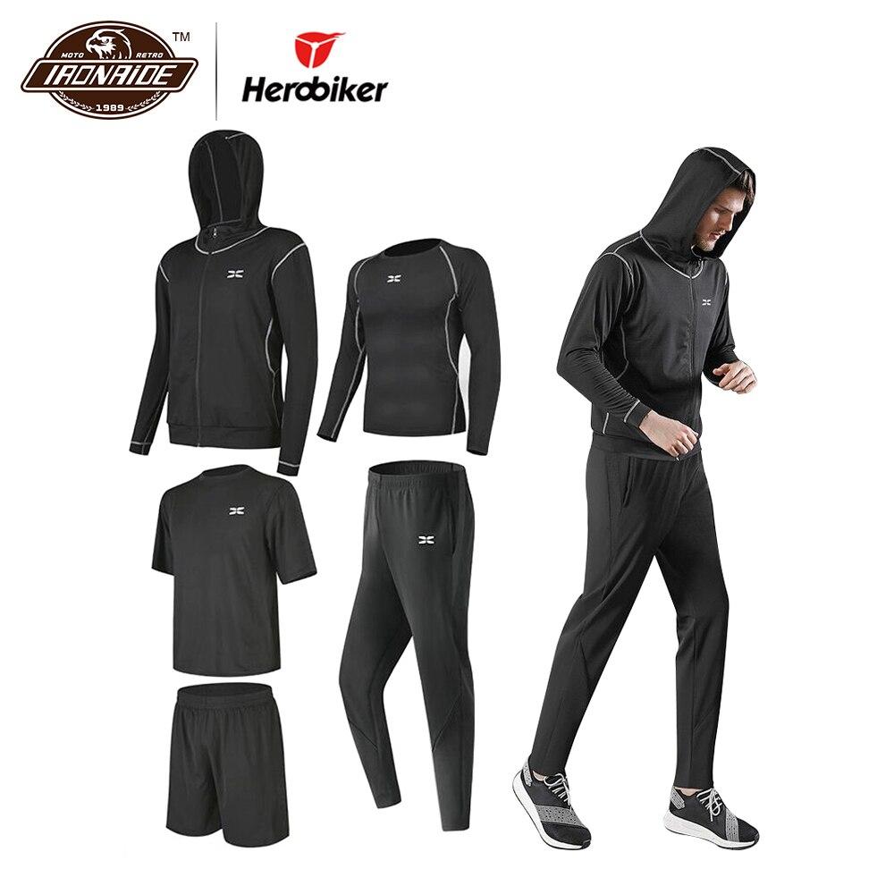 HEROBIKER 5PCS/Set Motorcycke Jersey Men Motocross T Shirt Quick Dry Sport Suit Breathable Sportswear Motorsport Clothing