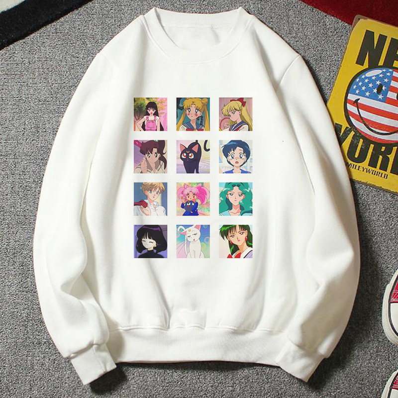 New Sweatshirt Women Kawaii Fashion Plus Size Casual Clothing Harajuku Cartoon Ulzzang Style Sailor Moon Hoody Funny Half Hoodie