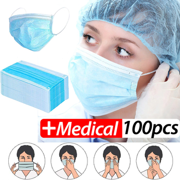 PM2.5 Profession  Mask 100PCS Anti-Dust 3-Ply Nonwoven Disposable Elastic Mouth Soft Breathable Flu Hygiene Face Mask Kid
