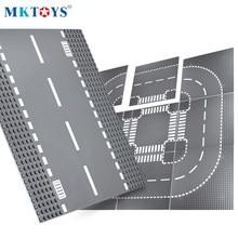 Mktoys bloco baseplate 32*32 pontos placas de tijolos blocos de construção placas compatíveis com placas de base de rua estrada da cidade clássica