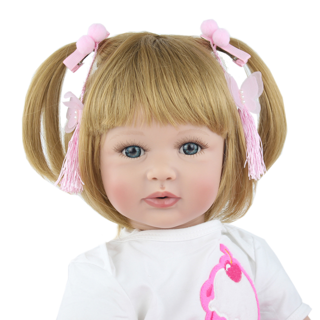 Special Offer 60cm Silicone Reborn Babies Doll Toys Like Real Princess Blonde Alive Bebe Kid Birthday
